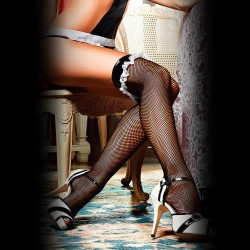 FISHNET THIGH HIGH STOCKINGS 1373 BACI BLACK