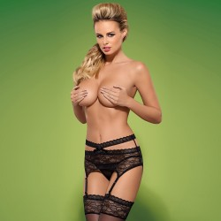 OBSESSIVE GARTER BELT AND THONG SWANITA BLACK