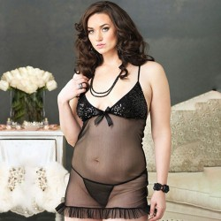 PLUS SIZE SHEER BABYDOLL WITH SEQUINS AND FRILLS