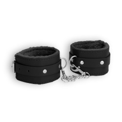 ALGEMAS OUCH! PLUSH LEATHER WRIST CUFFS PRETAS