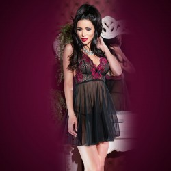 BABYDOLL AND THONG CR-4214 BLACK AND PINK