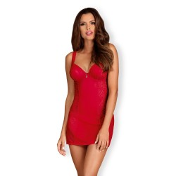 OBSESSIVE ROUGEBELLE CHEMISE AND THONG RED