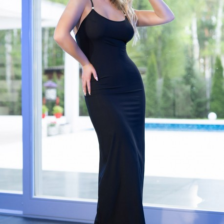 CR-4379 DRESS AND THONG BLACK