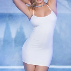 CR-4380 DRESS AND THONG WHITE