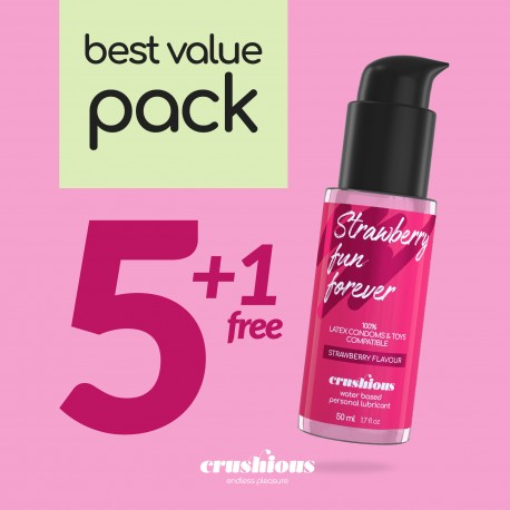 PACK OF 5 CRUSHIOUS STRAWBERRY FLAVOURED LUBRICANTS 50 ML + 1 FREE