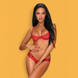 OBSESSIVE ALABASTRA CROTCHLESS SET RED