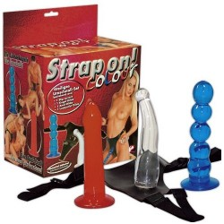 STRAP-ON COLOUR COM 3 DILDOS