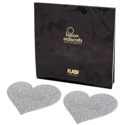 FLASH GLITTER HEART NIPPLE COVERS BIJOUX INDISCRETS SILVER